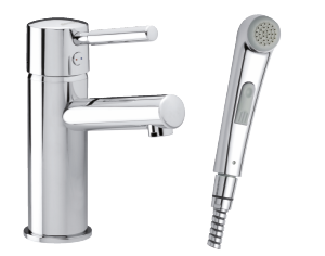 Merkur Piccolo Basin Mixer with sidespray and pop up waste
